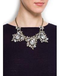 Mango - Metallic Chandelier Crystals Necklace - Lyst