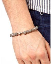 Simon Carter - Gray Cross Beaded Bracelet for Men - Lyst