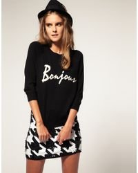 ASOS Collection | Black Asos Bonjour Jumper in Angora Mix | Lyst