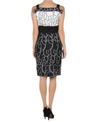 I'm Isola Marras - Black Floral Printed Viscose Cady Ruffle Dress - Lyst