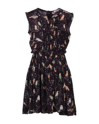 See By Chloé - Black Pleated Bird-print Sleeveless Dress - Lyst