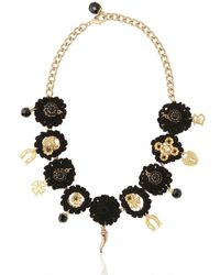 Dolce & Gabbana | Black Macramé Cotton Lucky Charm Necklace | Lyst