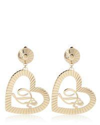 DSquared² | Metallic Heart and Logo Brass Earrings | Lyst