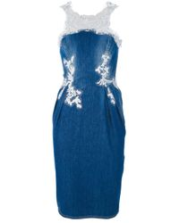 Ermanno Scervino | Blue Denim Fitted Midi Dress | Lyst