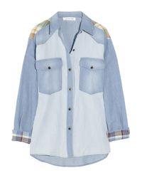Étoile Isabel Marant | Blue Guan Patchwork Denim and Plaid Shirt | Lyst