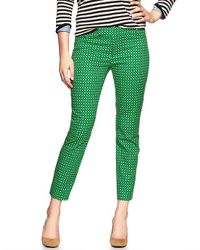 Gap - Green Slim Cropped Print Pants - Lyst