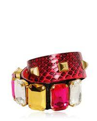 Gedebe - Yellow Crystal Studs Snake Bracelet - Lyst