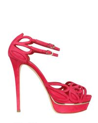 Le Silla - Red 140mm Suede Cut Out Sandals - Lyst