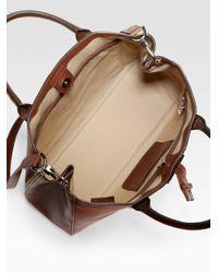 in Heritage Lyst Borsa Longchamp Roseau a tracolla media marrone Sv0Rq
