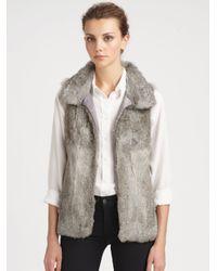 Pologeorgis | Gray Stand Collar Fox Fur Vest | Lyst