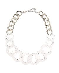 R.j. Graziano | White Clearsilver Link Necklace | Lyst