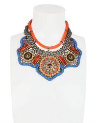 Sveva Collection - Orange Josephine Baker Embroidered Necklace - Lyst