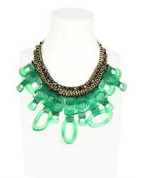 Sveva Collection | Green Vegas Chain and Plexiglass Necklace | Lyst