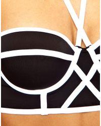 ASOS   White Longline Padded Contrast Fuller Bust Bikini Top    Lyst