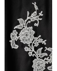 Carine Gilson | Black Lace Appliqué Silk-satin Chemise | Lyst