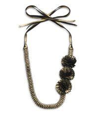Elie Tahari - Metallic Tie Flower Necklace - Lyst