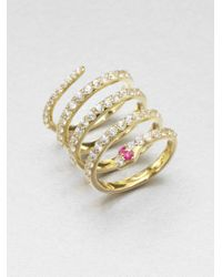 Elizabeth and James - Metallic White Sapphire Snake Coil Ring - Lyst
