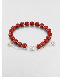 Gucci | Red San Valentino Wood & Sterling Silver Beaded Bracelet | Lyst