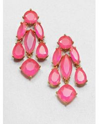 kate spade new york - Pink Faceted Statement Chandelier Earrings - Lyst