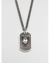 King Baby Studio - Metallic Small Crowned Heart Dog Tag Necklace - Lyst