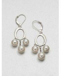 Majorica - Metallic 7mm8mm White Round Pearl Drop Earrings - Lyst