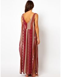 MINKPINK | Red Maya Scarf Print Beach Maxi Dress | Lyst