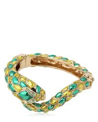 Roberto Cavalli - Green Snake Swarovski Metal Bracelet - Lyst