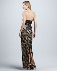 Sue Wong | Black Scalloped Strapless Gown | Lyst