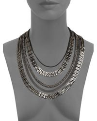 Tuleste - Black Multichain Necklacegunmetal - Lyst