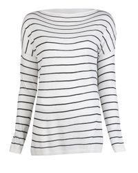 Vince | White Striped Boatneck Shirt | Lyst