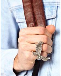 ASOS - Metallic Double Eagle Ring for Men - Lyst