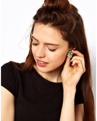 ASOS Collection - Green Skull Stud Earrings - Lyst