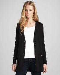 Elizabeth and James - Black Sheerback Boyfriend Cardigan - Lyst
