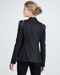 Elizabeth and James - Black Jewel shoulder Pinstripe Blazer - Lyst