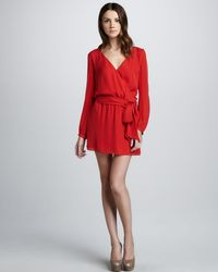 Haute Hippie - Red Silk Faux Wrap Dress - Lyst