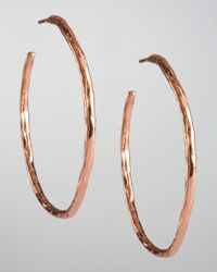 Ippolita | Pink Rose Hammered Hoop Earrings | Lyst