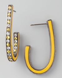 M.c.l  Matthew Campbell Laurenza - Mixed Pave Sapphire J Hoop Earrings Yellow - Lyst