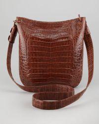 Nancy Gonzalez - Brown Crocodile Messenger Bag - Lyst