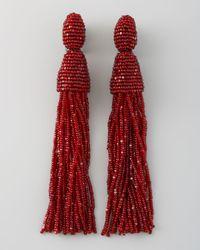 Oscar de la Renta - Red Beaded Tassel Earrings  - Lyst