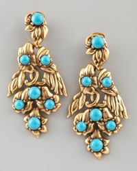 Oscar de la Renta | Blue Multiflower Drop Earrings | Lyst