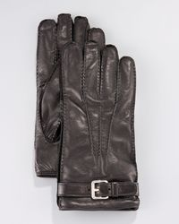 Prada - Brown Leather Belted Glove for Men - Lyst