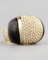 Rachel Zoe | Black Domed Crystal Ring | Lyst