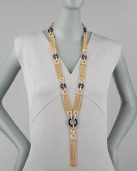 Rachel Zoe | Metallic Chain Tassel Necklace | Lyst