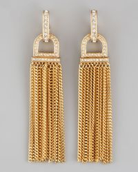 Rachel Zoe | Metallic Rhinestone Tassel Earrings | Lyst