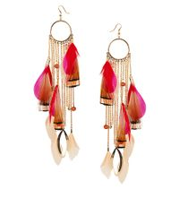 River Island | Multicolor Feather and Chain Dangle Earrings | Lyst