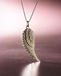 Sydney Evan - Metallic Angel Feather Necklace, Yellow Gold - Lyst