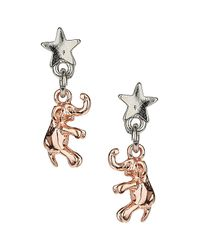 TOPSHOP - Metallic Tiny Elephant Earrings - Lyst