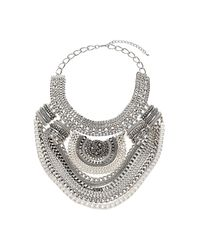 TOPSHOP | Metallic Multirow Chain Drape Collar | Lyst