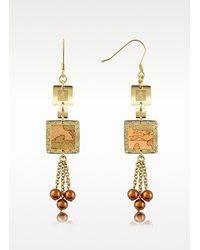 Alviero Martini 1A Classe | Metallic 1a Prima Classe Geo Square Pearl Drop Earrings | Lyst