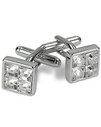 AZ Collection | Metallic Silver Plated Jeweled Cufflinks for Men | Lyst